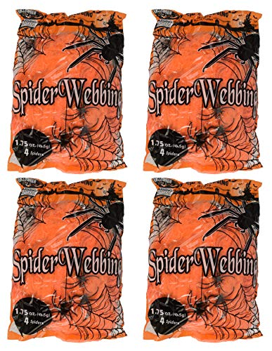 Set of 4 Spooky Stretchy Neon Colored Spider Webs! Green, Purple, Orange, Black! Perfect for Your Next Halloween Gathering! (4, Orange) -