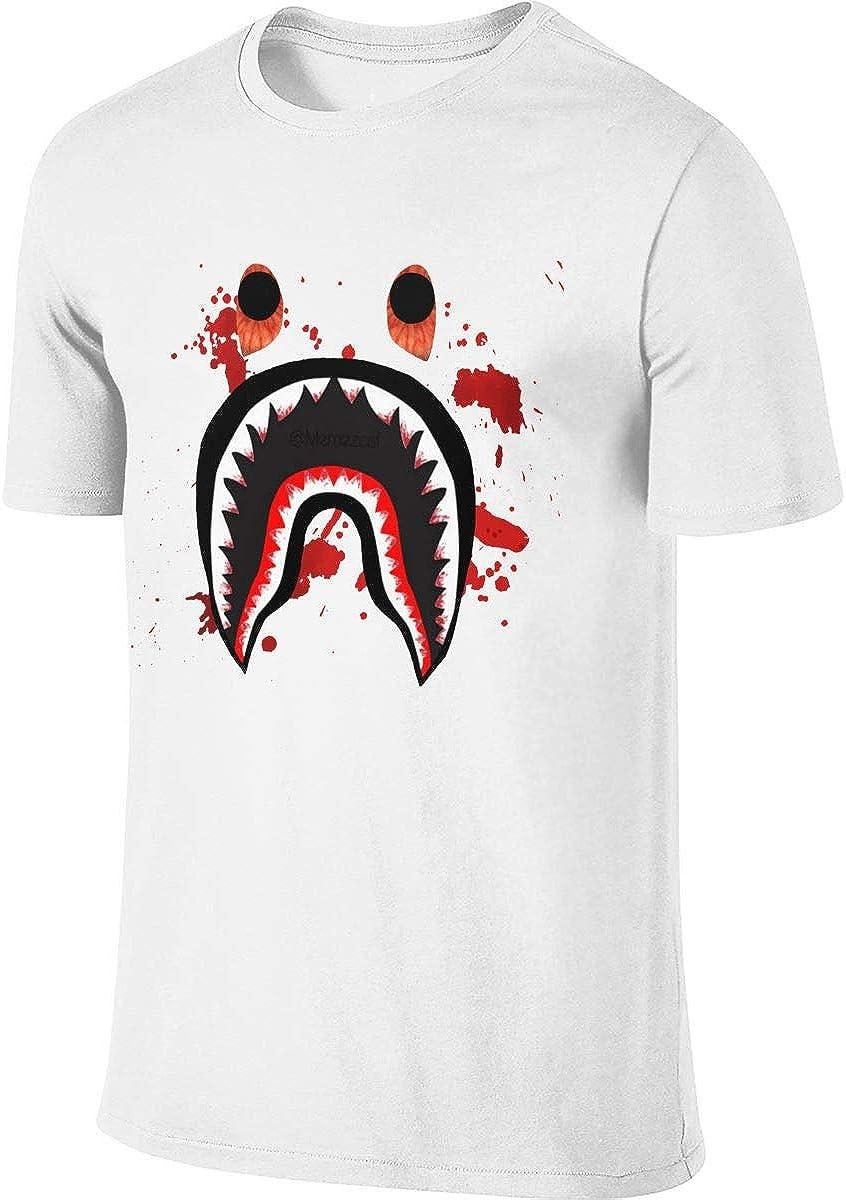 Bape Blood Shark Mens Fashion T Shirt Cotton Tee Shirts Short Sleeve