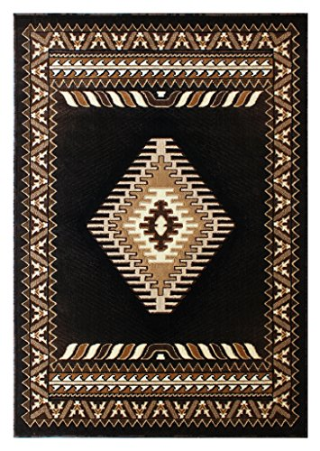 South West Native American Area Rug Design Kingdom 143 Black (8 Feet X 10 Feet) by Kingdom