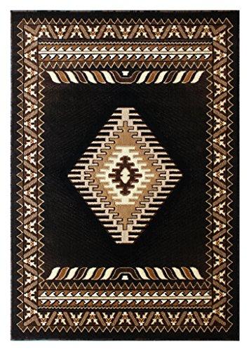 South West Native American Area Rug Design Kingdom 143 Black (8 Feet X 10 Feet) by Kingdom