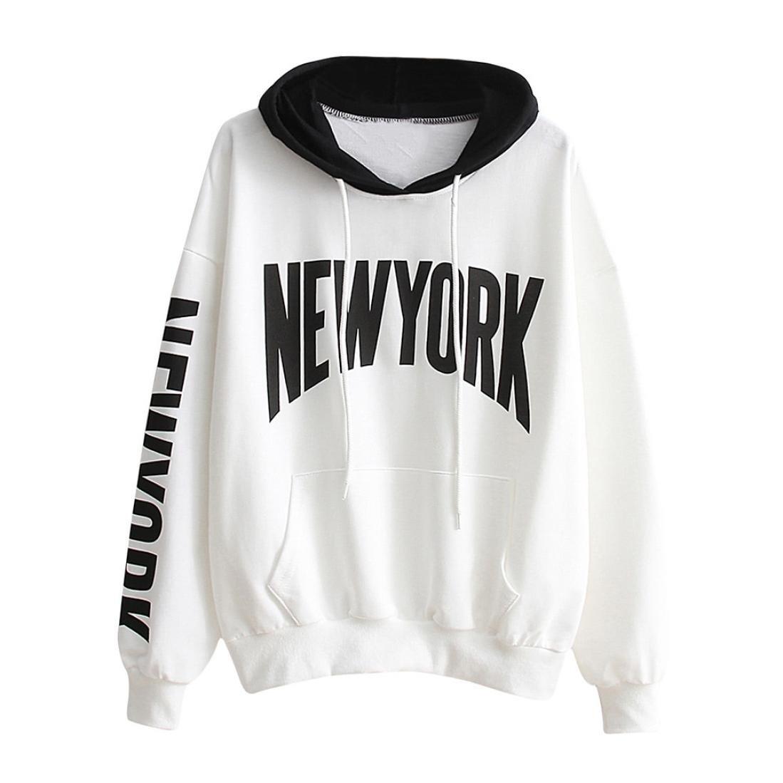 YANG-YI Womens Long Sleeve Letter Print Hoodie Sweatshirt Hooded Pullover Tops Casual Blouse