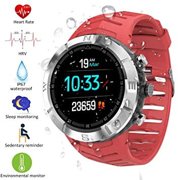 Padgene Reloj Inteligente IP67 Impermeable Bluetooth SmartWatch con Pulsómetro, Múltiples Modos de Deportes, Monitor de Sueño, Podómetro,Notificación ...