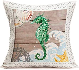 Smilyard Sea Horse Pillow Case Beach Theme Conch with Wood Background Cotton Linen Decorative Throw Pillow Covers 18x18 InchNautical Style Decor Home Sofa Couch Pillowcase (OW12)