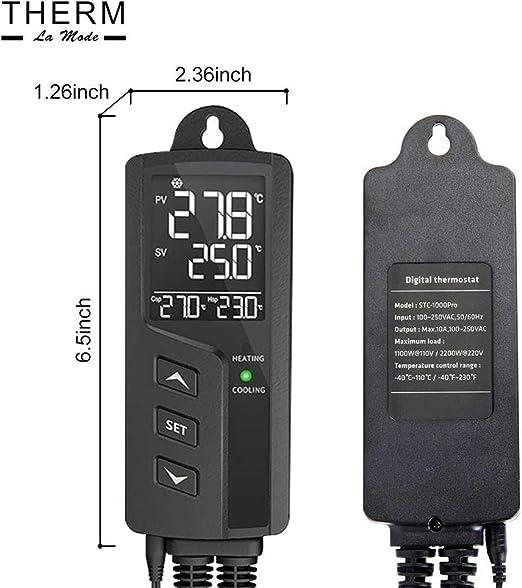 KKmoon Thermostat Temperaturregler Heizmattenthermostatregler 20-42℃ 220V Thermostat steckdose Digitaler Temperatur Steuerung Regler Einstellsensor f/ür Samenkeimung Reptilien Terrarium und Brauen