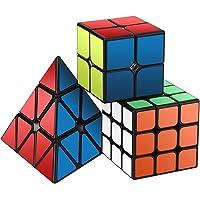 Roxenda Speed Cube Set, Magic Cube Set of 2x2x2 3x3x3 Pyramid Cube Smooth Puzzle Cube (Sticker)