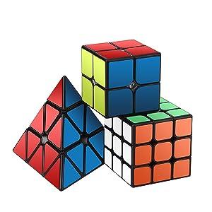 Speed Cube Set, Roxenda Magic Cube Set of 2x2x2 3x3x3 Pyramid Smooth Puzzle Cube