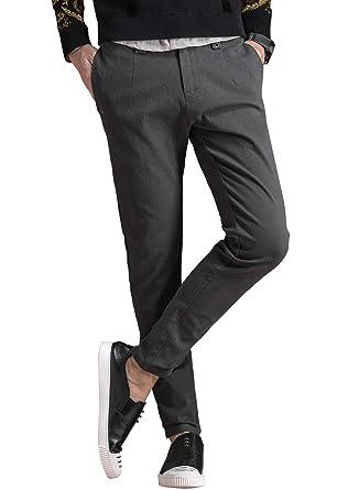 868313531d39c Amazon   NEWHEY チノパン メンズ ストレッチ スキニーパンツ 大きいサイズ 小さいサイズ 薄手 ファッション スリムフィット 春夏物  美脚 細身 ロングパンツ 黒 灰色 ...