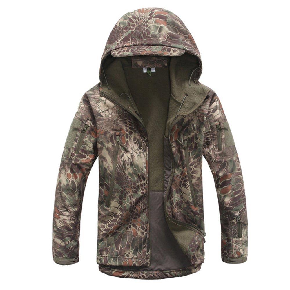 Eglemall Men's Outdoor Hunting Soft Shell Waterproof Tactical Fleece Jackets (L, Python Green) by Eglemall