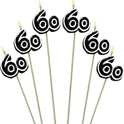 """Amscan Numerical Candles, 60th Celebration Candles on a Stick, Party Supplies, Multicolor, 9 1/2"""", 6ct - 176055: Kitchen & Dining"""