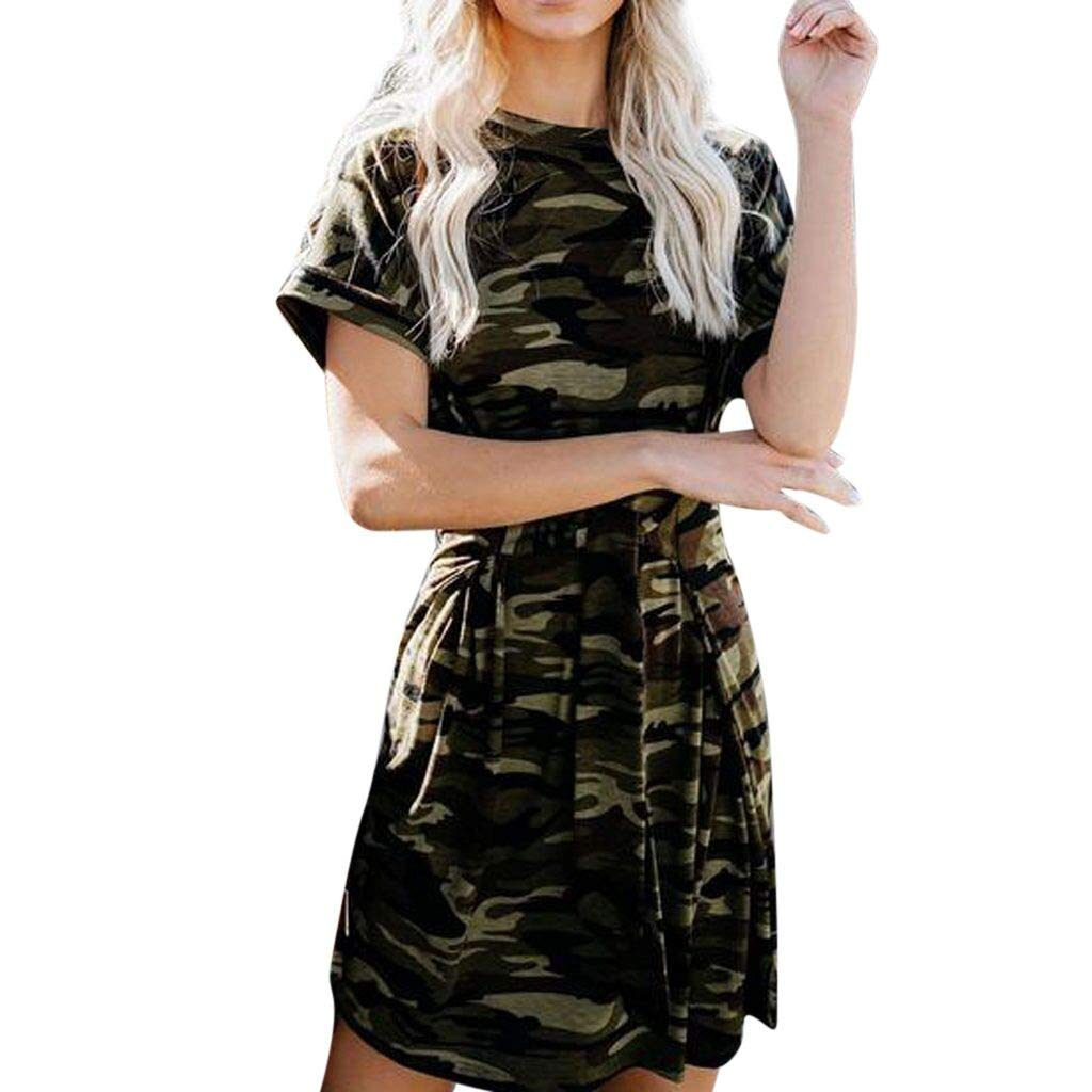 a80da3ace8ba0 Amazon.com: Pitauce Women's Short Sleeve Crew-Neck Camo Leopard Print Loose  Fit Swing Dress Beach Dress Casual Dress Jumper Dress: Clothing