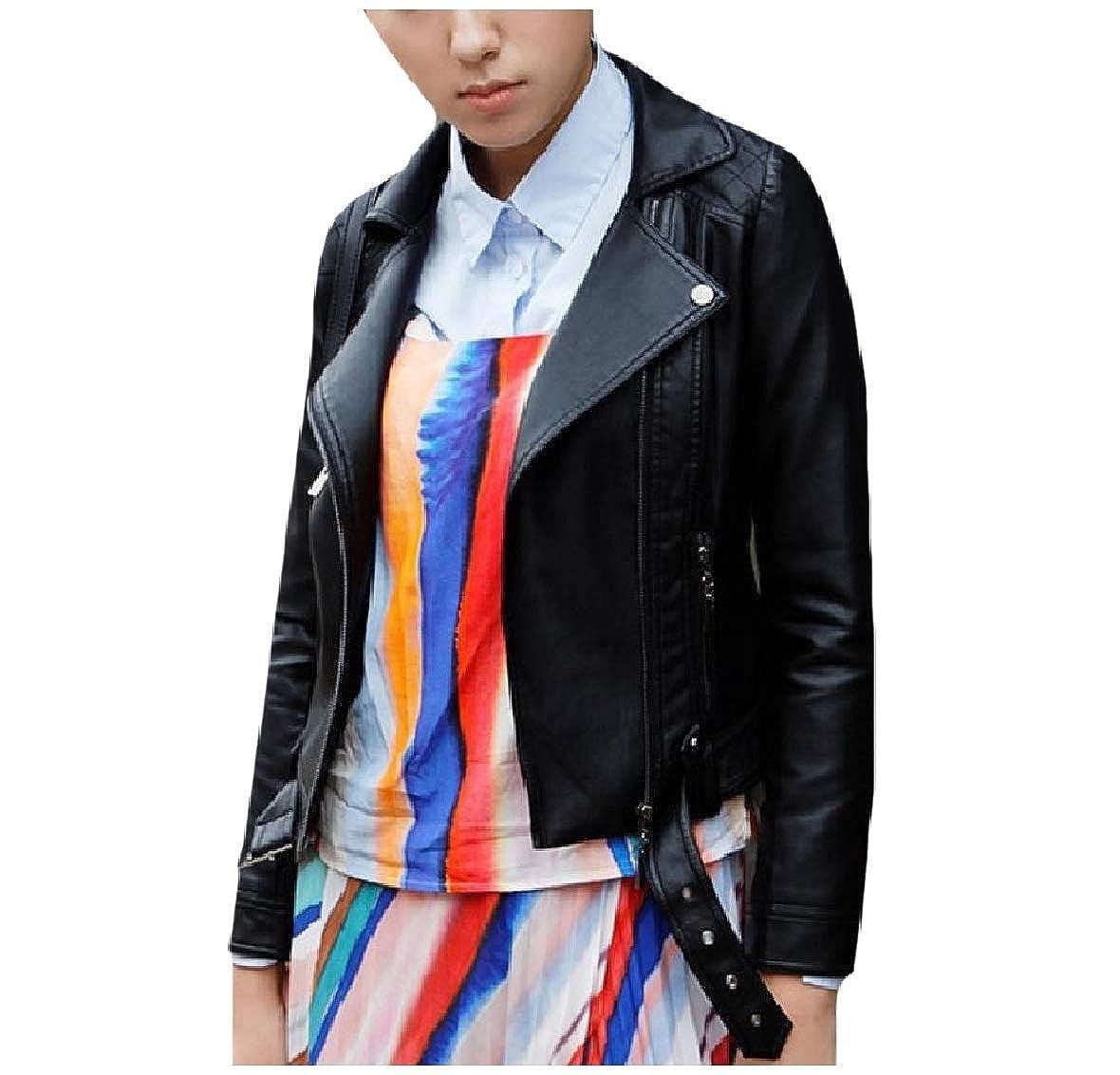 CuteRose Women's Zipper Lapel Belt Plus-Size Faux- Coat Jacket