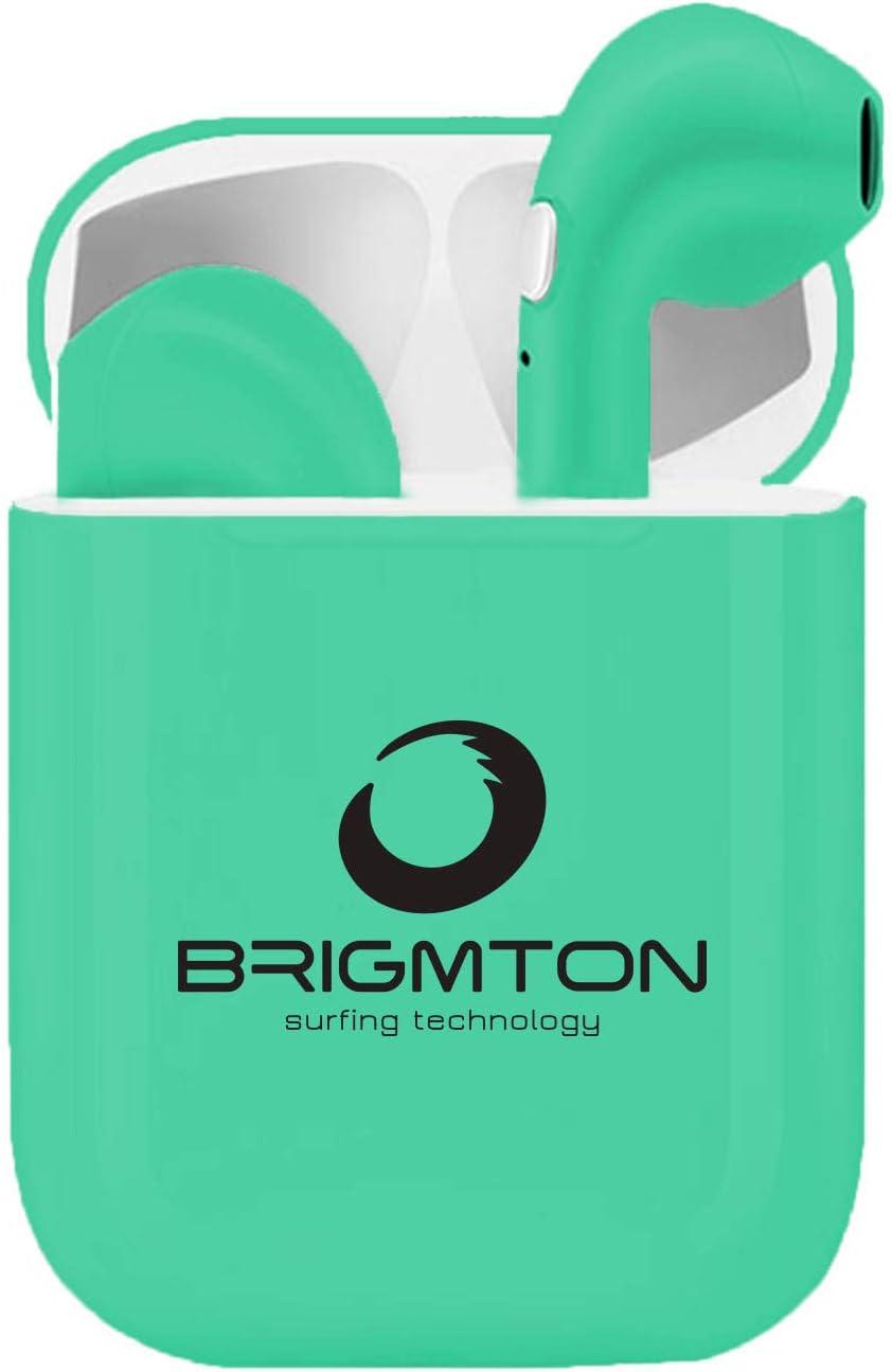 Brigmton BML-18A, Auriculares Inalámbricos Manos Libres Bluetooth con Micrófono y Estuche Batería, Bluetooth, Talla única, Verde