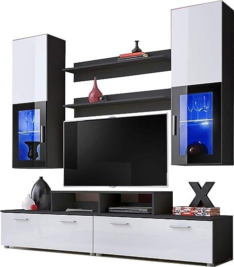 ExtremeFurniture Mini Mueble para TV, Carcasa en Blanco Mate/Frente en Blanco Alto Brillo + LED Azul: Amazon.es: Hogar