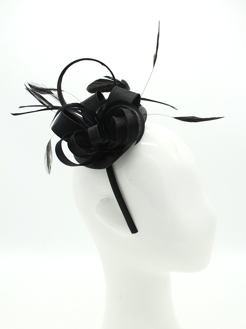 Felizhouse Fascinator Hats for Women Ladies Feather Cocktail Party Hats Bridal Headpieces Kentucky Derby Ascot Fascinator Headband (Black) by Felizhouse (Image #3)