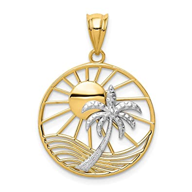 235d996b03e49 14k Two Tone Yellow Gold Sun Palm Tree Pendant Charm Necklace Sea Shore  Fine Jewelry Gifts For Women For Her
