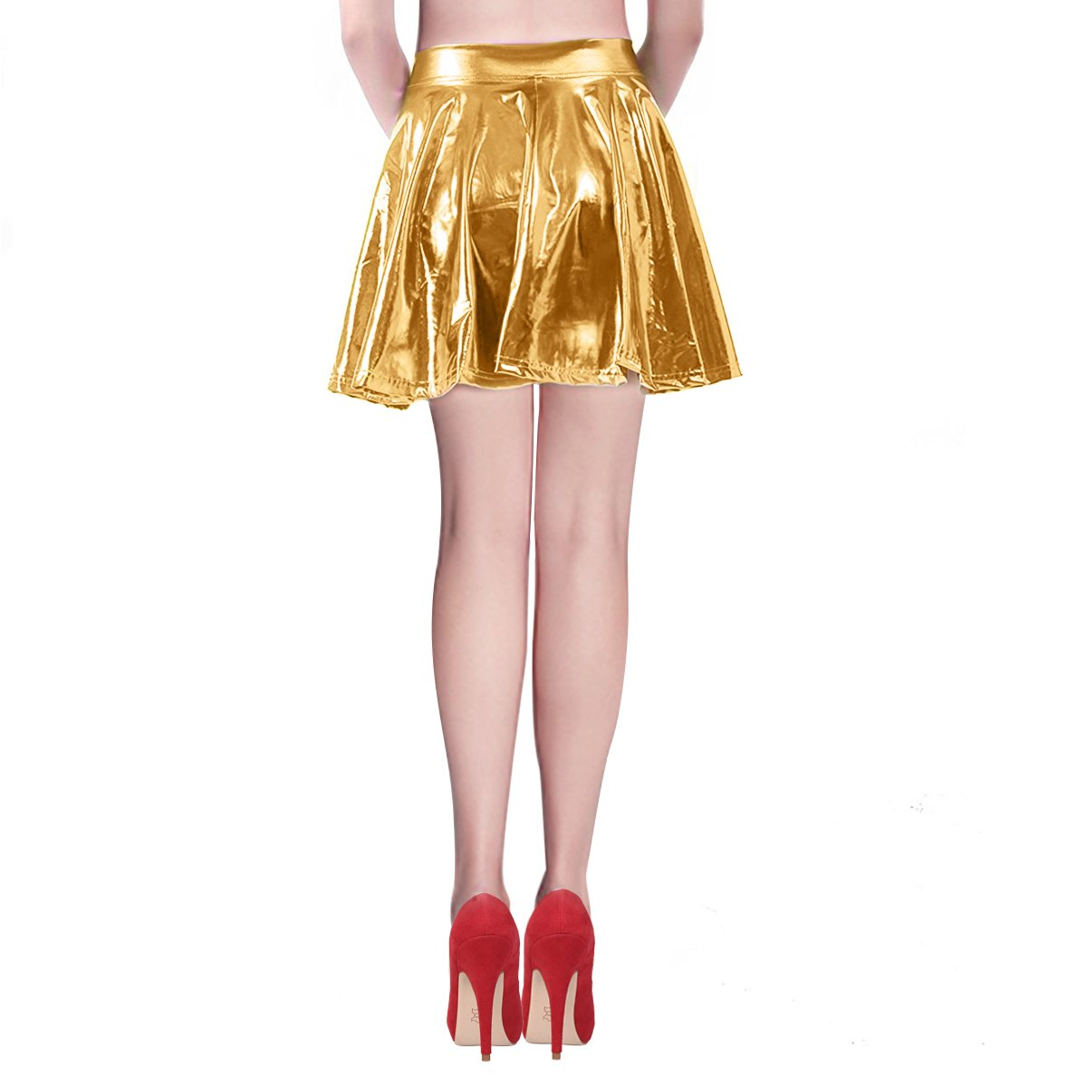 Mother's Day Gifts Pleated Skirt Short Shiny Liquid Metallic Flared Skater Skirt Golden, Small by TQS (Image #4)