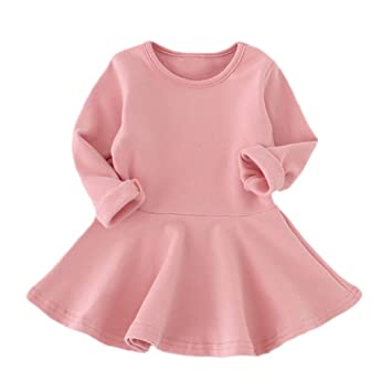 4ebbd6fde Amazon.com  FEITONG Baby Girl Dresses Candy Color Long Sleeve Solid ...