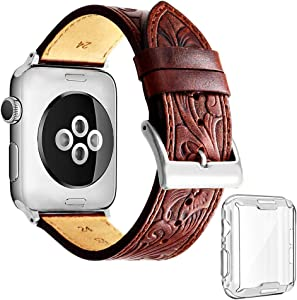 ICANZUO Smartwatch Band Compatible for Apple iWatch - 40mm (also work for 38mm) Genuine Leather Strap 22mm with Case, Brown