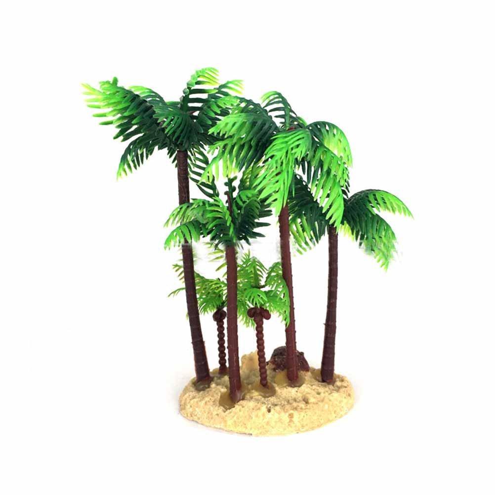 POPETPOP Aquarium Decoration Plastic Coconut Palm Tree Miniature Plant Bonsai Craft Micro Landscape DIY Decor