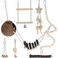 Parrot Chewing Molar Swing Toys Set Bird Cage Bells Wooden Standing Stick Pet Supplies,Bird Chewing Toys Wooden Blocks