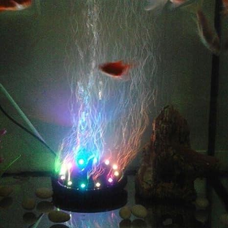Luz de Burbuja de Aire de Acuario, Impermeable Vistoso LED Lámparas de Luz Decorativa de Tanque de Pescado con el Disco de Aire: Amazon.es: Productos para ...