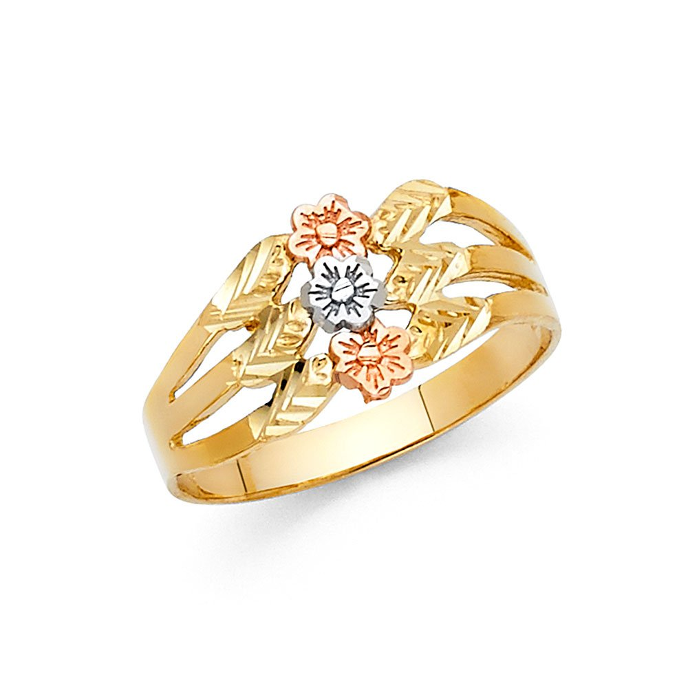 Ioka - 14K Tri Color Solid Gold Fancy Tri Flower Ring - Size 6.5