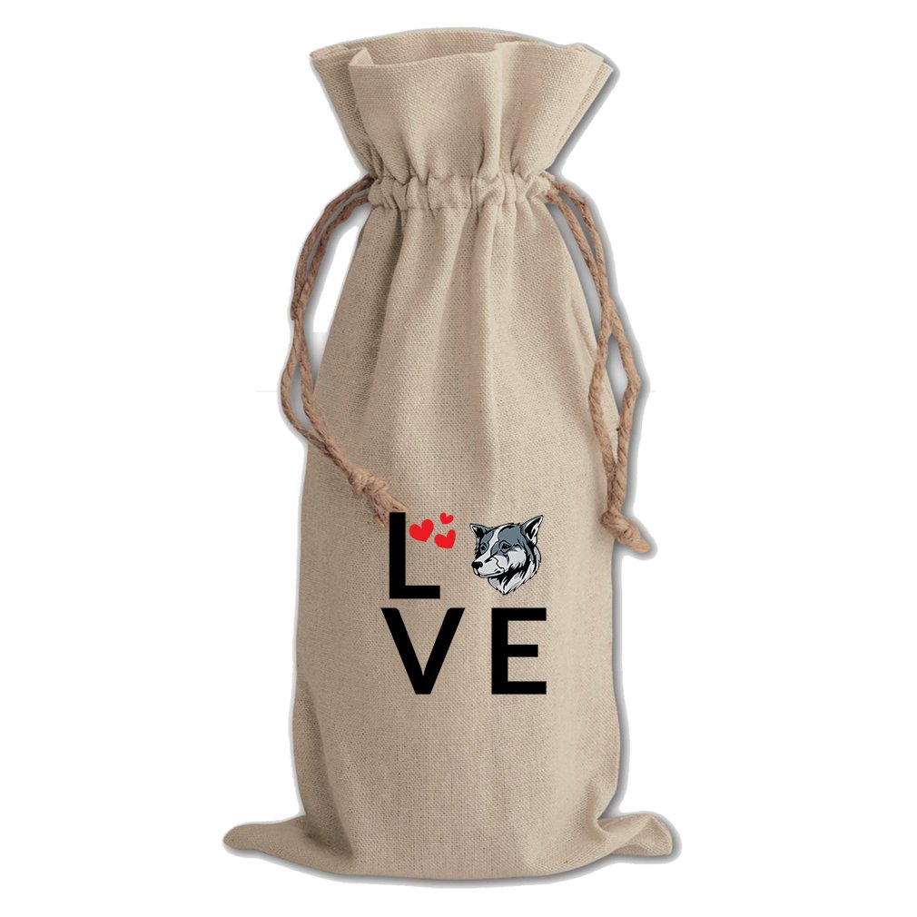 Canvas Wine Drawstring Bag Love Hearts Thai Bangkaew Dogdog Style In Print