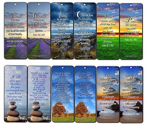 Bible Verses Bookmarks Cards Gratitude (60-Pack)- Christian Inspirational and Encouraging Thanksgiving Holy Scriptures - Philippians 4:6-7, Deuteronomy 16:15, Psalms Sunday School Easter Cell Group