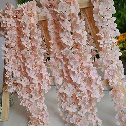 10pcs/lot Artificial Lifelike Silk 180cm Hydrangea Flower Vine Wisteria Rattan Cane Garland Plant Wedding Party Home Garden Decoration (incarnadine)