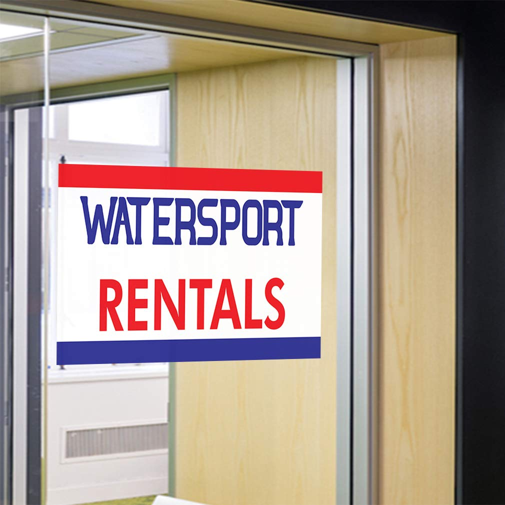 Set of 5 34inx22in Decal Sticker Multiple Sizes Watersport Rentals #1 Business Banners Water Sports rentals Outdoor Store Sign White