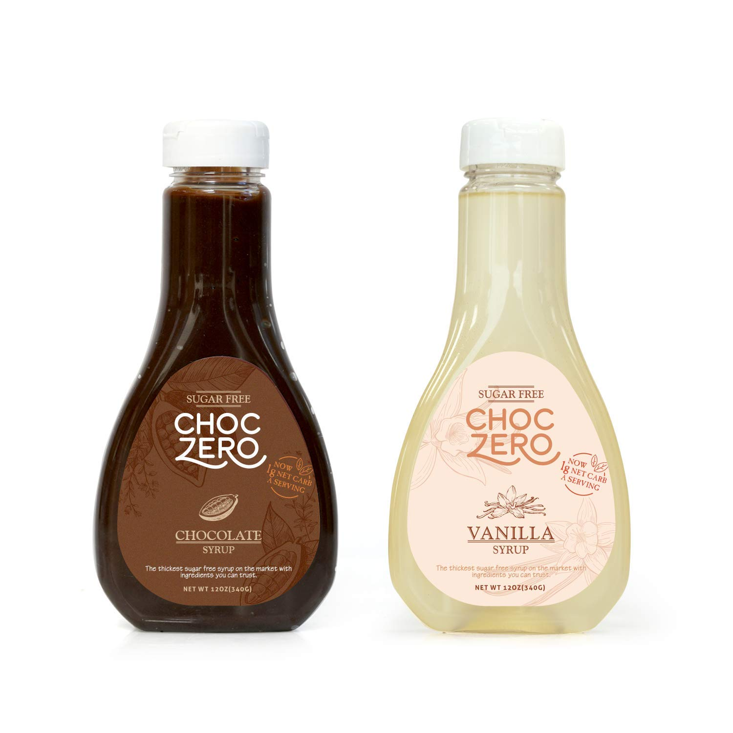 ChocZero's Chocolate and Vanilla Syrup. Sugar Free, Low Net Carb, No Preservatives. Gluten Free. No Sugar Alcohols. Dessert toppings and baking syrups for keto (2 bottles) by ChocZero (Image #1)
