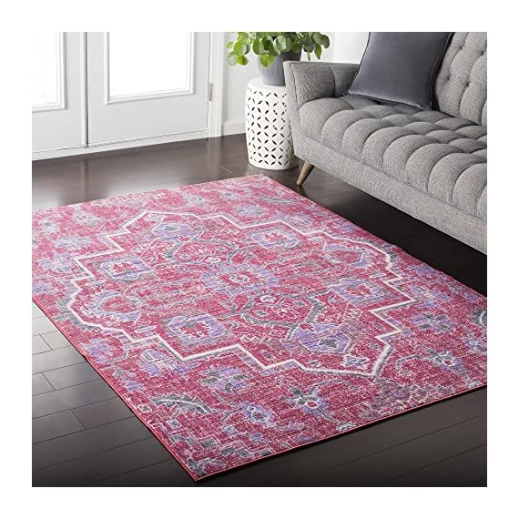 Germaine Bright Pink and Bright Purple Updated Traditional Area Rug 2' x 3' - Features a captivating and lustrous sheen Power-loomed construction makes this rug perfect for high-traffic areas; reduces shedding Updated Traditional style adds a contemporary twist to an esteemed classic motif - living-room-soft-furnishings, living-room, area-rugs - 61gdXaF4bQL. SS570  -