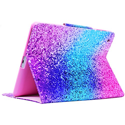 Funda iPad 2 WE LOVE CASE Piel y Tipo Cartera Carcasa Funda iPad 4 caso de Cuero Original Funda Que Se Pega con Ranura Para Tarjeta Card Holder y Stand Cierre Anti Shock Funda Apple iPad 2 / 3 / 4 uni arco iris