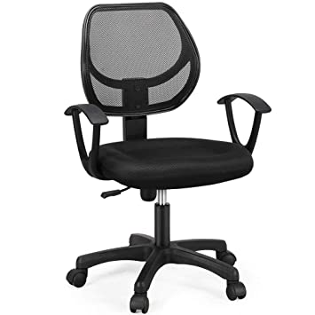 Amazing Yaheetech Mid Back Mesh Office Chair Swivel Task Chair Adjustable Computer Desk Chair Tilt Ergonomic Office Chairs With Arms Black Machost Co Dining Chair Design Ideas Machostcouk