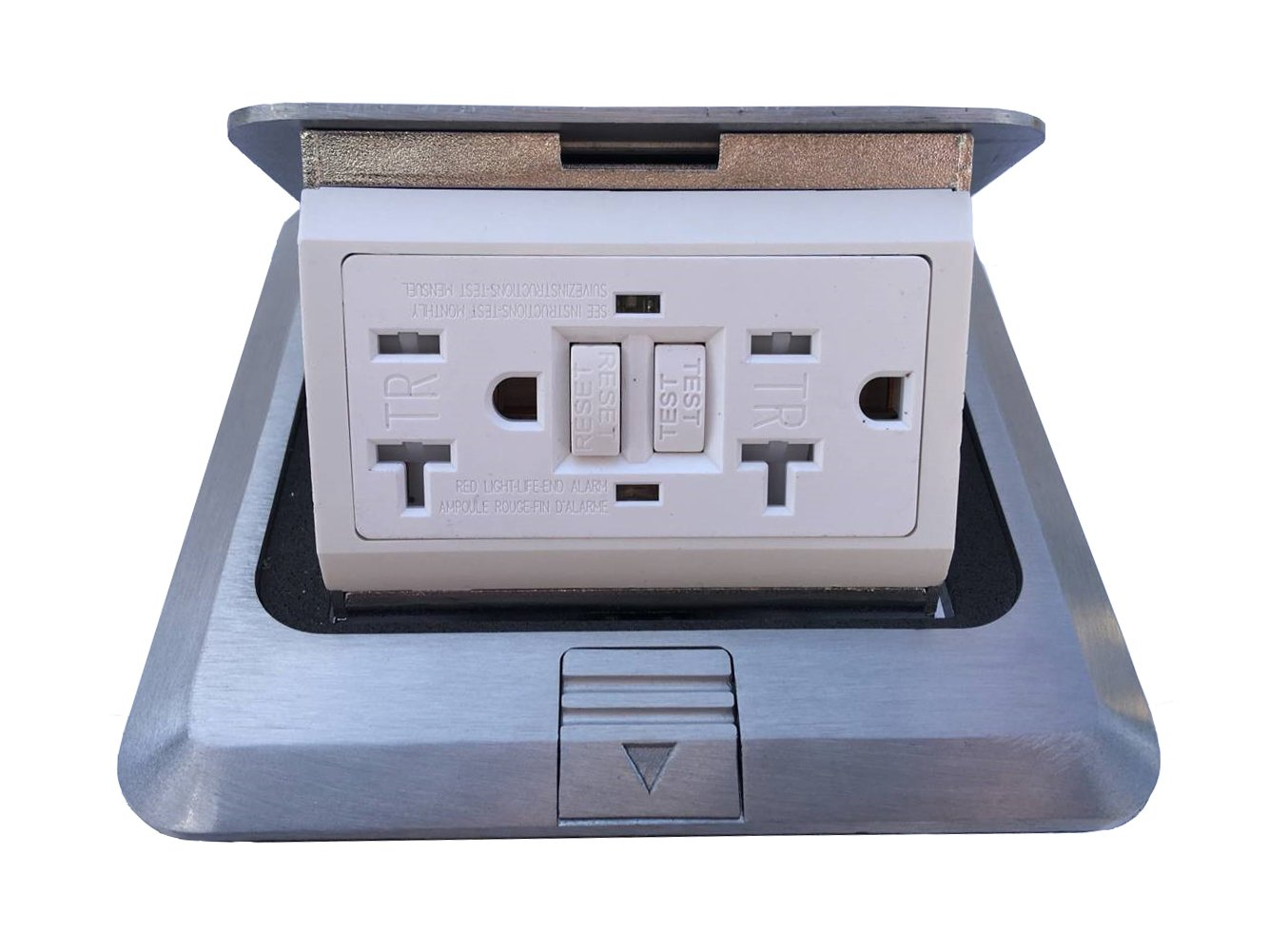 Pop Up Floor Box Countertop Box w/20A GFI Receptacle Electric Outlet - Brushed-Stainless Finish by Lhfacc