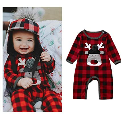 3a8b4ce9773a Amazon.com  Franterd Baby Girls Boys Christmas Romper Winter Warm ...
