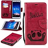 Misteem Cartoon Case Huawei Mate 10 Lite, Cute Retro Panda Pattern Leather Cases Flip Shockproof Card Holder Bookstyle/Stand / Magnetic Wallet Cover Protector Huawei Mate 10 Lite - Panda Red