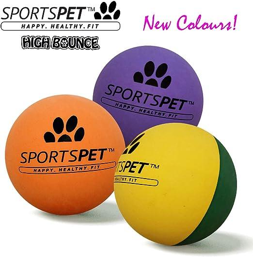 Pelotas de goma para perros SPORTSPET High Bounce Paquete de 3 ...