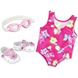 Pink Floral Swimsuit for 18 Inch Dolls with Pink Sandals and Water Goggles
