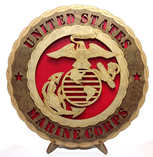 Unique Decorative Custom Laser Crafted Three Dimensional Wooden Wall Plaque - Armed Forces Marines (Plaque Wall Wooden)