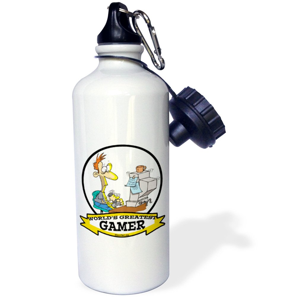 3dRose wb/_103426/_1 Funny Worlds Greatest Pc Gamer Cartoon Sports Water Bottle 21 oz White