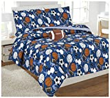 Elegant Home Dark Blue Sports Football Basketball Baseball Soccer Design Fun Reversible 8 Piece Comforter Bedding Set for Boys /Kids Bed In a Bag With Sheet Set & Decorative TOY Pillow # Sports (Full)