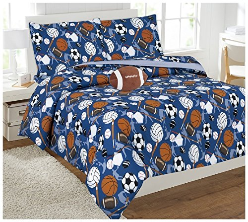 ue Sports Football Basketball Baseball Soccer Design Reversible 6 Piece Comforter Bedding Set for Boys /Kids Bed In a Bag With Sheet Set & Decorative TOY Pillow # Sports (Twin) (Football Bedding Set Bed)