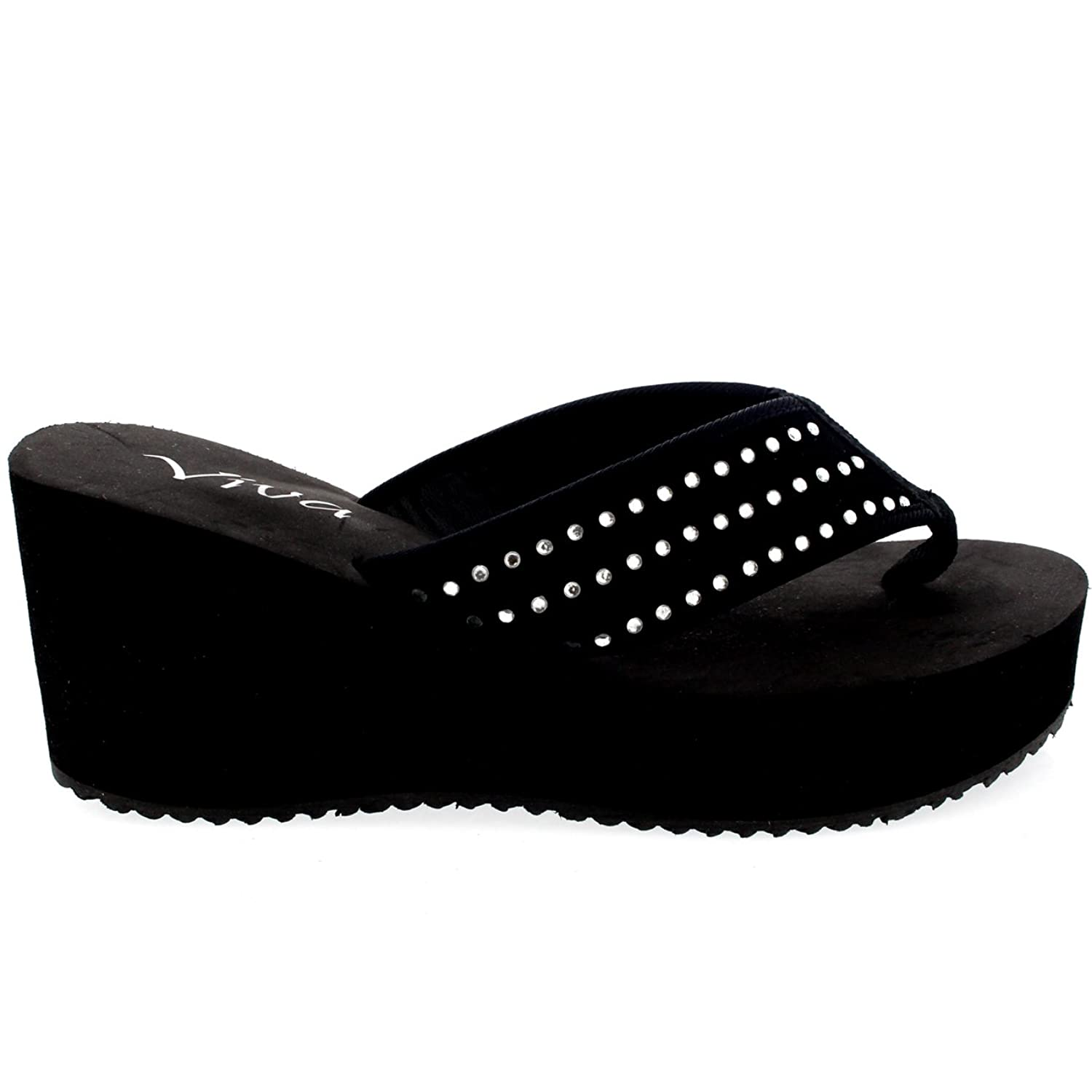 Womens Wedges Holiday Platform Diamante Summer Flip Flop High Heel Sandal -  Black - 9 - 42 - CD0187: Amazon.co.uk: Shoes & Bags