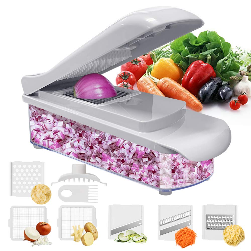 Jordan & Judy Vegetable Chopper – Pro Food Cutter & Dicers – Multifunctional Veggie Slicer – Potato Onion Chopper With Container – Grey Kitchen Supplies Fun Cooking Gadgets – 6 Sharp Blades