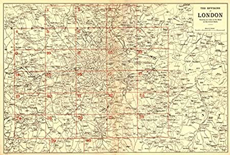 Detailed Map Of London.Greater London Environs General Index Map To Detailed Maps Bacon