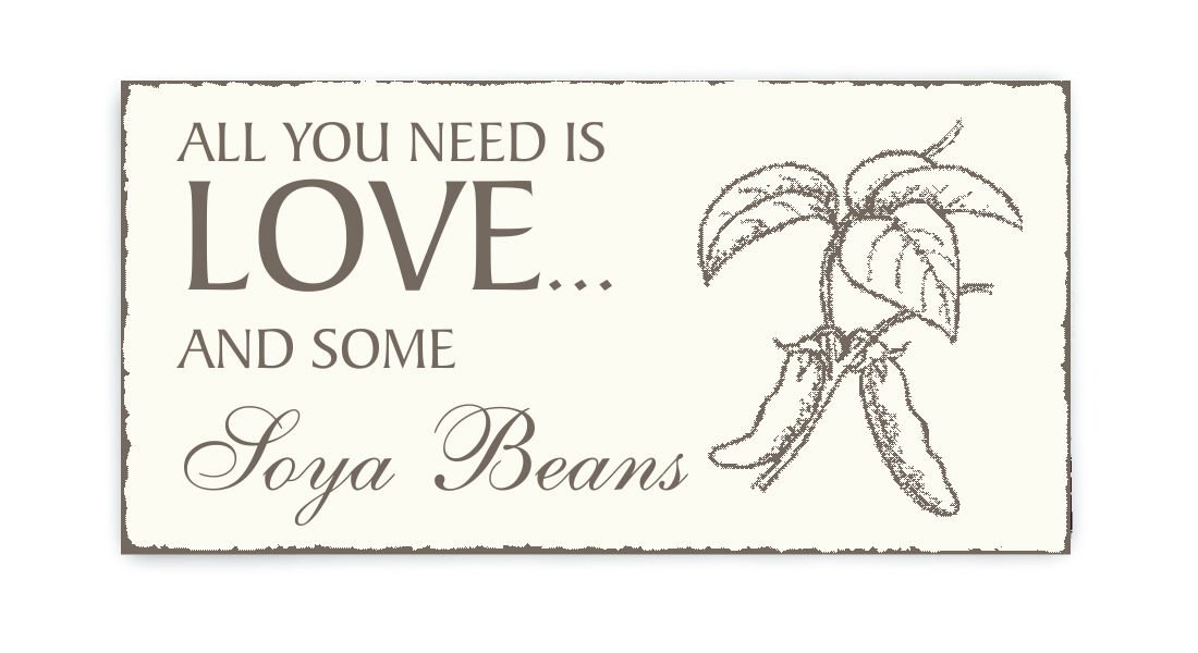 Placa decorativa, « All You Need is Love And Some sōya Beans ...