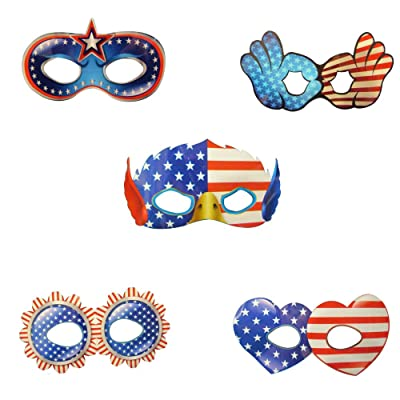 5-Pack Patriotic Red, White & Blue Glow Eye Masks (Each Includes 2 Two Light Sticks): Toys & Games