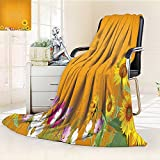 Digital Printing Blanket Antique Old Planks American Style Western Rustic Wooden and sunflower flower grass Summer Quilt Comforter