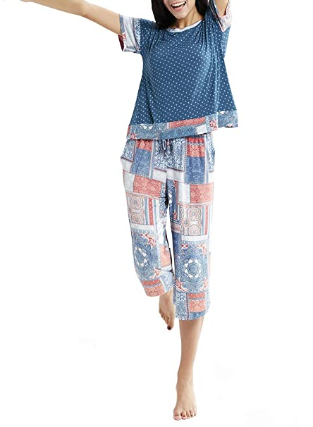 Summer Pajamas for Women - Stylish Print Ladies Pajama Set, Oversized Shirt Capri Lounge Pants, Bedouin Patch M best women's summer pajamas